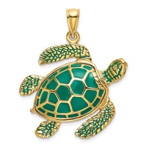 Jewelry - 14K Yellow Gold Sensational Sea Turtle Charm